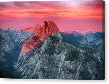 Half Dome Sunset From Glacier Point Canvas Print by John Haldane