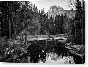 Half Dome - Yosemite In Black And White Canvas Print