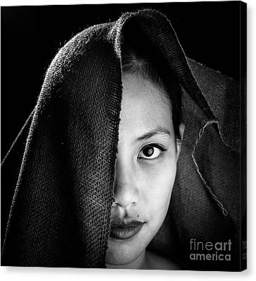 Half Face In Burlap Canvas Print