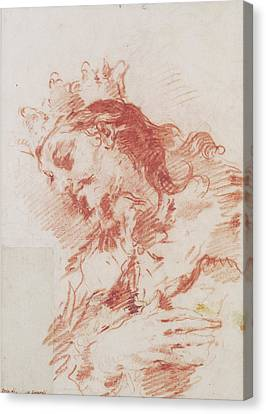 Half-length Canvas Print - Half Length Figure Of A Magi Verso  A Seated Ruler by Litz Collection