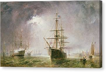 Half Mast High 19th Century Canvas Print by  Robert  Dudley