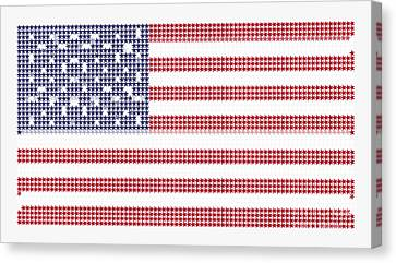 Halftone Us Flag Canvas Print by Celestial Images