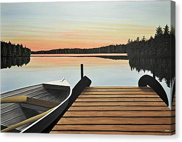 Canvas Print featuring the painting Haliburton Dock by Kenneth M  Kirsch