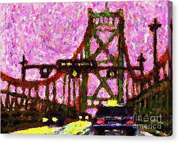 Halifax Macdonald Bridge Pointillist Canvas Print by John Malone