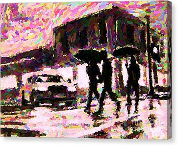 Halifax Nova Scotia On In The Rain Canvas Print