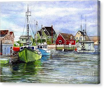 Peggys Cove Nova Scotia Watercolor Canvas Print