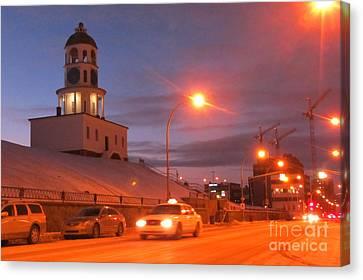 Halifax Town Clock In Halifax Nova Scotia Canvas Print by Halifax photographer John Malone