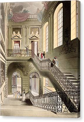 Hall And Staircase At The British Canvas Print by T. & Pugin, A.C. Rowlandson