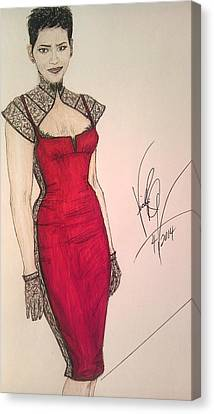 Halle Berry/ In Victoria's Fashion Canvas Print by Vicki  Jones