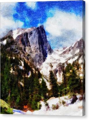 Hallett Peak In Spring Canvas Print by Dan Sproul