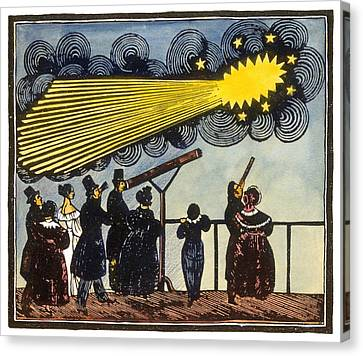 Halley's Comet, 19th Century Artwork Canvas Print by Science Photo Library