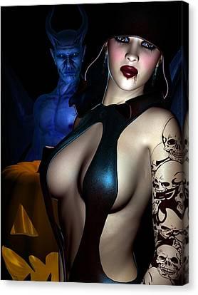 Shock Canvas Print - Halloween by Alexander Butler