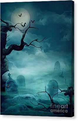 Halloween Background - Spooky Graveyard Canvas Print by Mythja  Photography