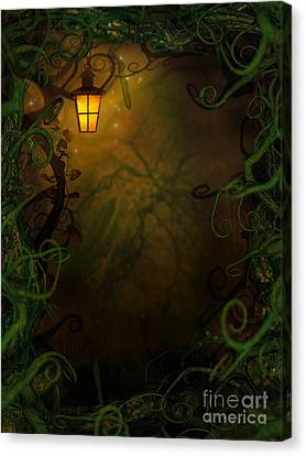 Halloween Background With Spooky Vines Canvas Print by Mythja  Photography