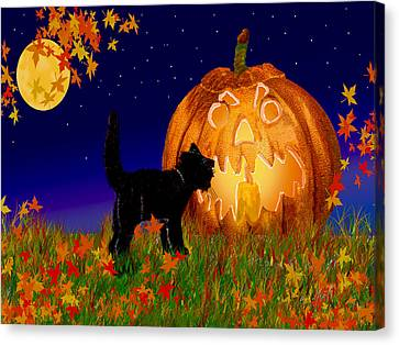 Halloween Black Cat Meets The Giant Pumpkin Canvas Print
