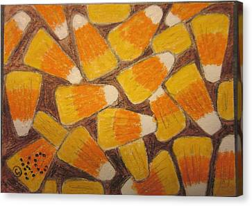 Halloween Candy Corn Canvas Print by Kathy Marrs Chandler