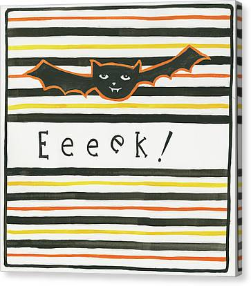 Halloween Eeek Bat Canvas Print by Melissa Averinos