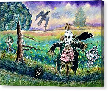 Halloween Field With Funny Scarecrow Skeleton Hand And Crows Canvas Print by Ion vincent DAnu