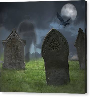 Halloween Graveyard Canvas Print by Amanda Elwell