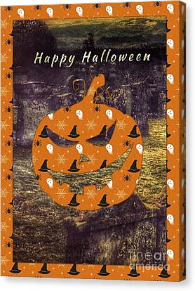 Halloween Greeting 3 Canvas Print by Joan-Violet Stretch