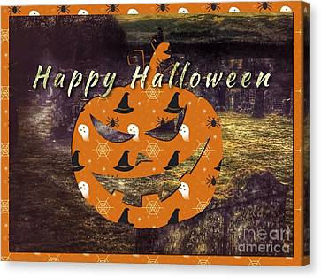 Halloween Greetings Canvas Print by Joan-Violet Stretch