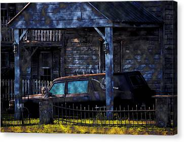 Ghostly Canvas Print - Halloween Hearse Art 1 by Lesa Fine