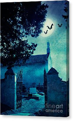 Halloween Illustration With Graveyard Canvas Print by Mythja  Photography