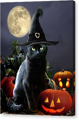 Witchy Black Halloween Cat Canvas Print by Regina Femrite