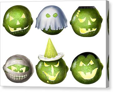 Halloween Limes Monsters Canvas Print