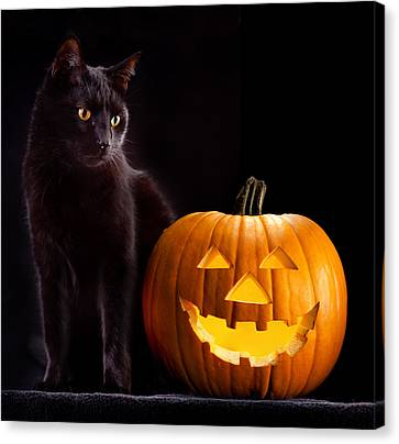 Halloween Pumpkin And Cat Canvas Print by Dirk Ercken
