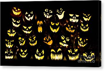Halloween Pumpkin Faces Canvas Print by Tim Gainey