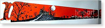 Halloween Painted Saw Canvas Print by Jeffrey Koss