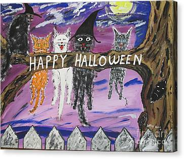 Halloween Scaredy Cats Canvas Print