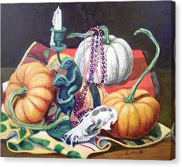 Canvas Print featuring the painting Halloween Scene by Laura Aceto