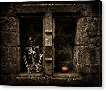 Halloween Skeleton Canvas Print by Amanda Elwell