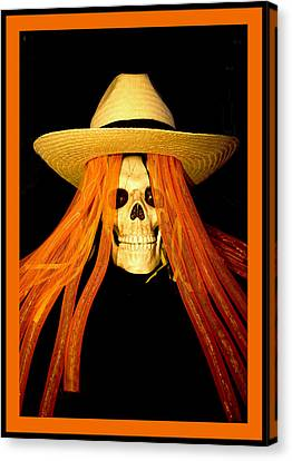 Halloween Skull Border Canvas Print by Barbara Snyder