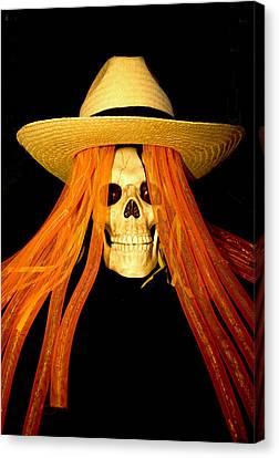Halloween Skull Canvas Print by Barbara Snyder
