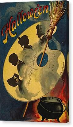 Halloween The Black Art Canvas Print by Ellen Hattie Clapsaddle