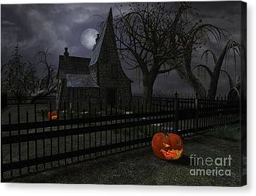 Halloween Witch House - 1 Canvas Print by Fairy Fantasies
