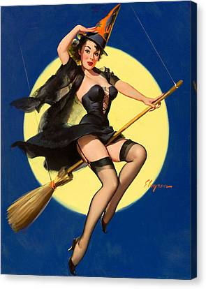 Halloween Witch Pinup Girl Canvas Print by Tilen Hrovatic