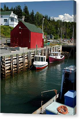 Halls Harbour Fishing Cove Canvas Print by Norman Pogson