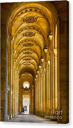 Hallway At The Louvre In Paris Canvas Print by Cynthia Lagoudakis