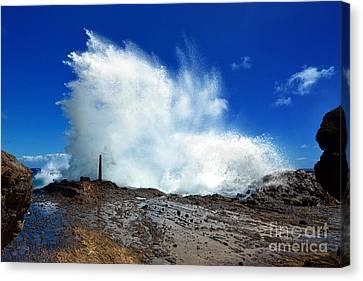Halona Blowhole Crashing Wave Canvas Print by Aloha Art