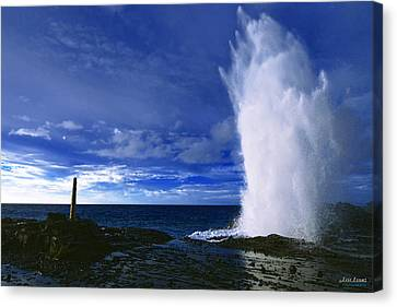 Canvas Print featuring the photograph Halona Blowhole Ice Blue Geyser by Aloha Art