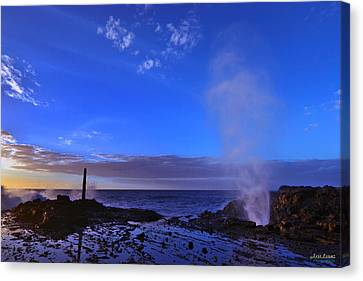 Canvas Print featuring the photograph Halona Blowhole Purple Sunrise by Aloha Art