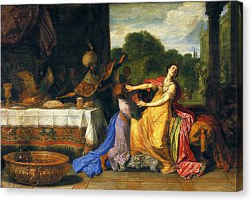 Haman Begging Esther For Mercy Canvas Print by Pieter Lastman
