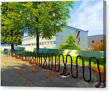Canvas Print featuring the photograph Bike Rack by Laurie Tsemak
