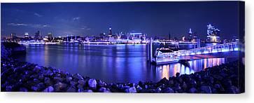Hamburg Blue Port Panorama Canvas Print by Marc Huebner