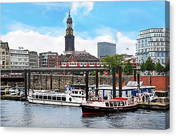 Bahn Canvas Print - Hamburg, Germany, Tour Boats Docked by Miva Stock