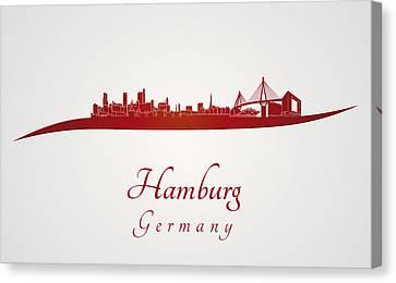 Hamburg Skyline In Red Canvas Print by Pablo Romero